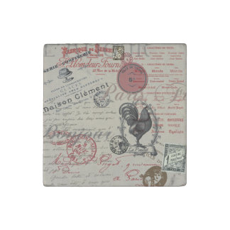 Vintage French Handwriting Paris Rooster Stone Magnet