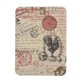 Vintage French Handwriting Paris Rooster Rectangular Photo Magnet