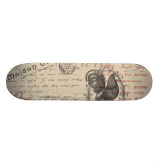 Vintage French Handwriting Paris Rooster Skate Decks