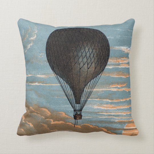 Vintage French Hot Air Balloon Advertisement Throw Pillow