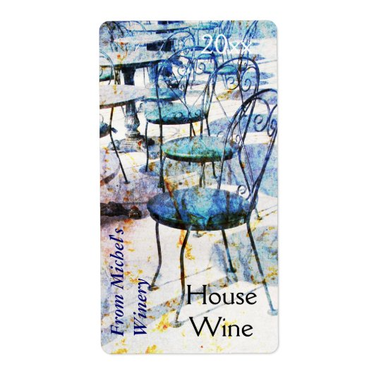 Vintage french impressionist style cafe wine label
