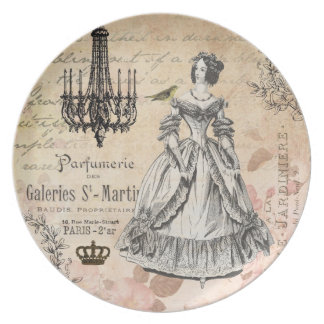 Vintage French lady shabby chic plate