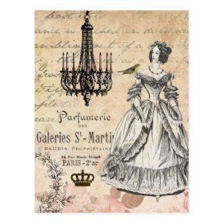 Vintage French lady shabby chic postcard