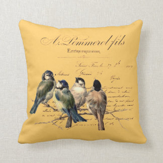 Vintage French Letter and Birds Throw Pillow