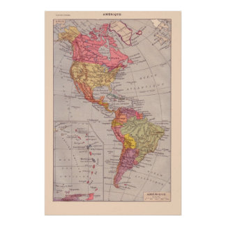 Vintage French map, 1920, The Americas Poster