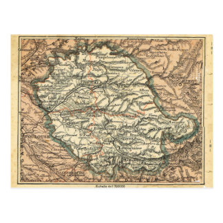 Vintage French map, Alpes Albi Postcard