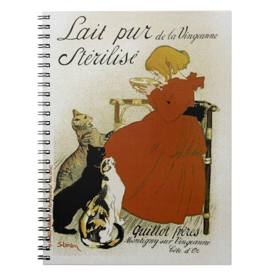 Vintage French Milk Ad Spiral Notebook