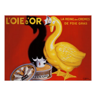 Vintage French Pate Food Art Poster Golden Goose