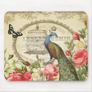 Vintage French Peacock mousepad