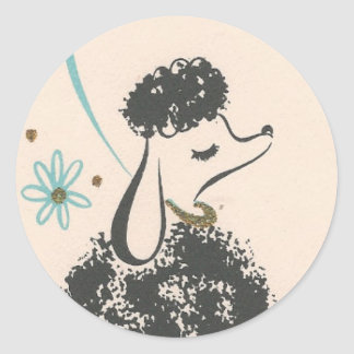 Vintage French Poodle Classic Round Sticker