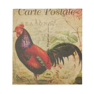 Vintage French Postcard Rooster Notepad