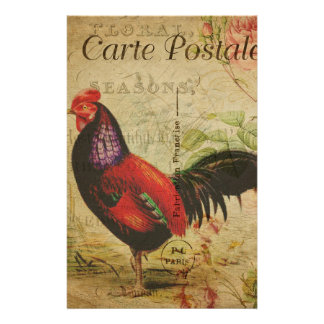Vintage French Postcard Rooster Stationery