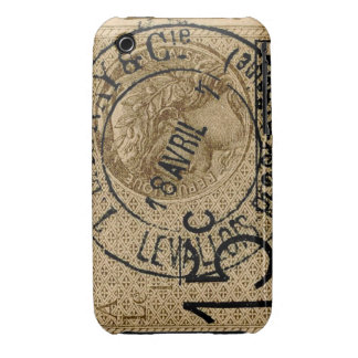 Vintage French Postmarked Stamp -iPhone 3/3gs iPhone 3 Case-Mate Case