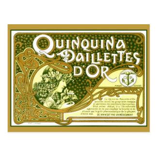Vintage French quinine apéritif art nouveau label Postcard