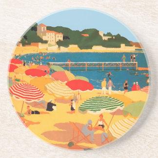Vintage French Riviera Beach Beverage Coasters