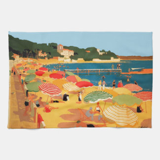 Vintage French Riviera Beach Kitchen Towel