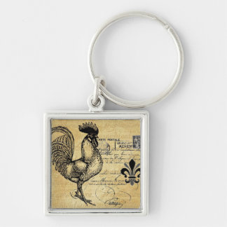 Vintage French Rooster On Burlap Keychain