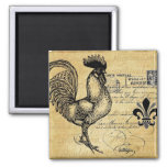 Vintage French Rooster On Burlap Square Magnet