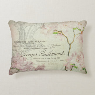 Vintage French Script Chic Pink Floral Collage Accent Pillow