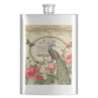 Vintage French Shabby Chic Peacock Flask