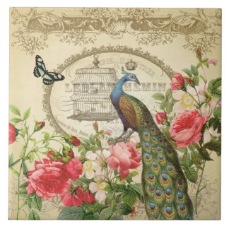 Vintage French Shabby Chic Peacock Tiles