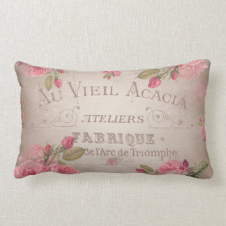 Vintage french shabbychic roses pink floral lumbar pillow