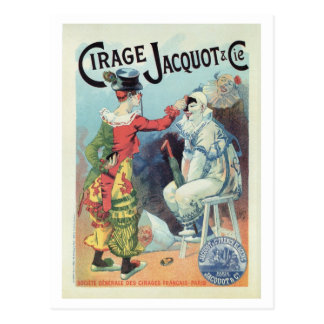 Vintage French shoe polish ad, clowns Postcard