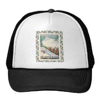 Vintage French Ski Resort Poster Trucker Hat