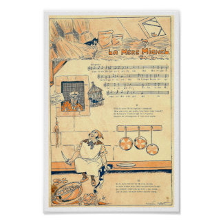 Vintage French song music score La Mere Michel Poster