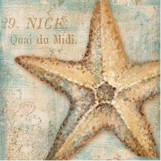 Vintage French Starfish Art Photo Sculpture Keychain