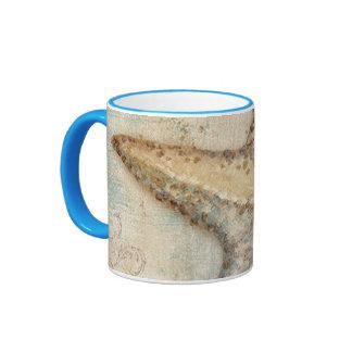 Vintage French Starfish Art Ringer Coffee Mug