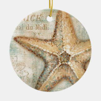 Vintage French Starfish Art Round Ceramic Ornament