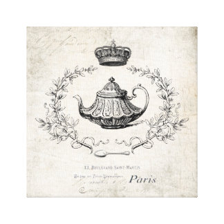 Vintage French teapot and crown stretched canvas