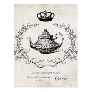Vintage French teapot postcard