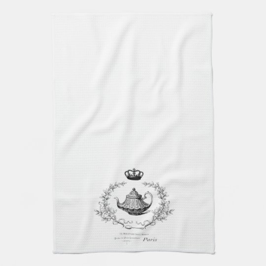 Vintage French teapot tea towel