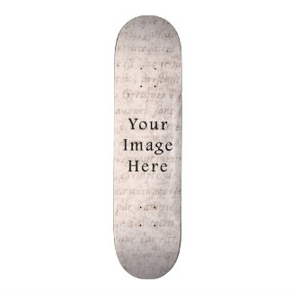 Vintage French Text Parchment Paper Background Skate Board