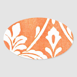 Vintage French Textile Arabesques Oval Sticker