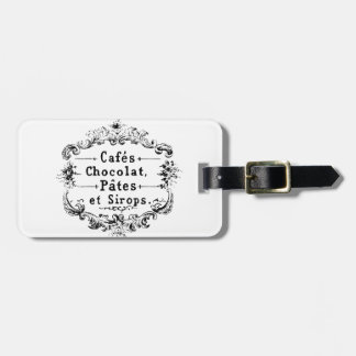 Vintage french  typography chocolate design luggage tag