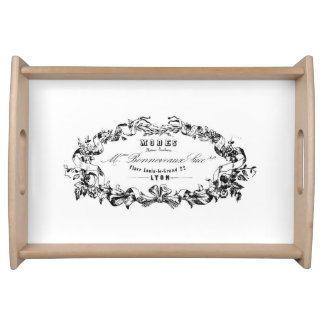 Vintage French Typography Wooden Serving Tray