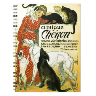 Vintage French veterinary Cat dog Clinique Chéron Notebook