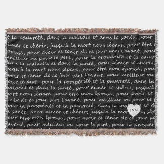 Vintage French Wedding Vows Black and White Throw Blanket