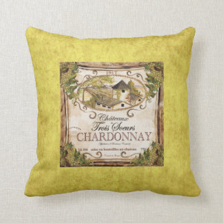 Vintage French Wine Label Throw Pillow