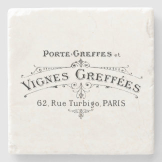 Vintage French Winemakers Coaster Stone Beverage Coaster