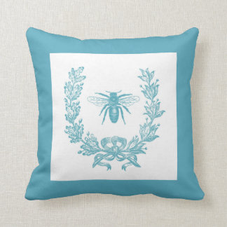 "Vintage French Wreath w/ Bee 20 x 20"" Pillow Teal"