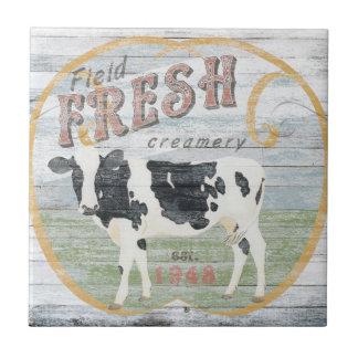 Vintage Fresh Creamery Cow Tile
