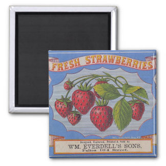 Vintage Fresh Strawberries Magnet
