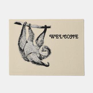 vintage friendly sloth - welcome doormat
