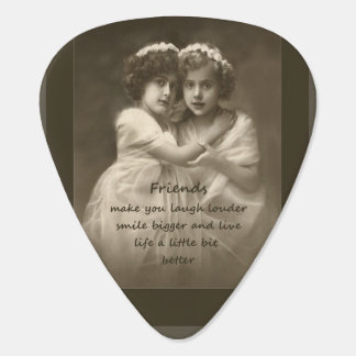 Vintage Friends Inspirational Friendship Quote Guitar Pick