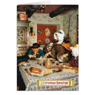 Vintage Frnace, Auvergne, family meal Greeting Card