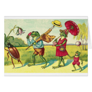 Vintage Frog Family Summer Outing, Card